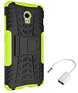 Chevron Tough Hybrid Armor Back Cover Case with Kickstand for Lenovo Vibe P1 with Audio Splitter (Green)