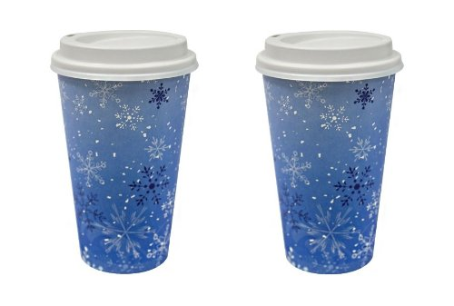 16 Oz. Paper Cup Hot And Cold Cup Coffee Cup With Lid Snowflake Design (Pack Of 32)
