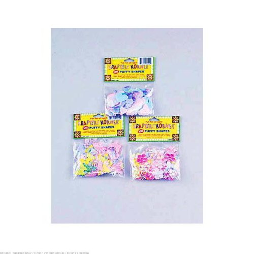 24 Packs of 100 Assorted Pastel Color Puffy Shapes