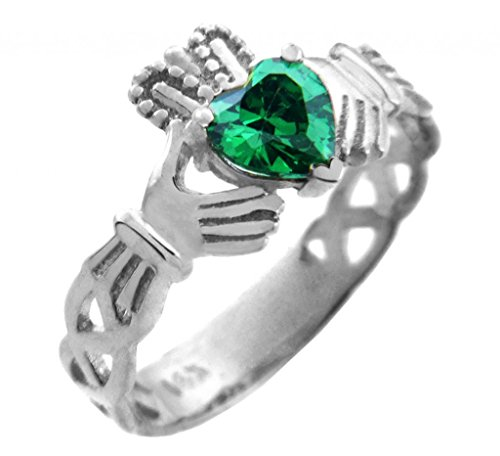 10K White Gold Claddagh Trinity Band With Emerald Green Cz Heart (Size 5.5)