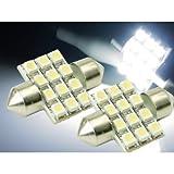 12連★高輝度LEDルームランプホワイト2ヶ T10×31mm as58-2