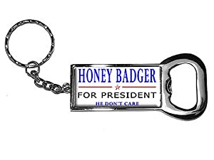 graphics and more ring bottle cap opener key chain honey badger for president he. Black Bedroom Furniture Sets. Home Design Ideas