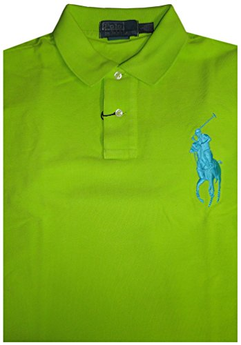 Polo by Ralph Lauren Mens Custom Fit Short Sleeve Big Pony Shirt Neon Green, Large