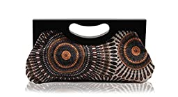 Scarleton Wood Framed Embroidered Clutch H300101 - Black