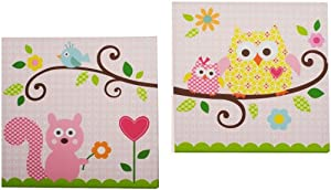 Kids Line Dena Happi Tree 2 Piece Canvas Wall Art, Pink (Discontinued by Manufacturer)