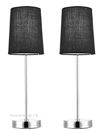 Side Wall Lamp Shades : Pair of Black metal & fabric side table lamps lights & shades. Bedside lights: Amazon.co.uk ...
