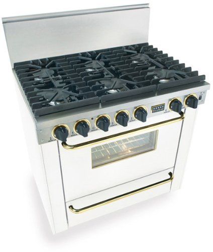 """36"""" Pro-Style Natural Gas Range With 6 Sealed Ultra High-Low Burners 3.69 Cu. Ft. Manual Clean Oven And Broiler Oven White With Brass"""