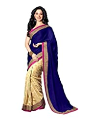 Temptingg Fashions Blue & Beige Jacquard & Georgette Lace Border Work Saree