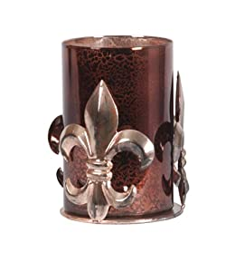Wilco Imports Amber Colored Mercury Glass Fleur De Lis Candleholder, 5 by 5 by 7.25-Inch