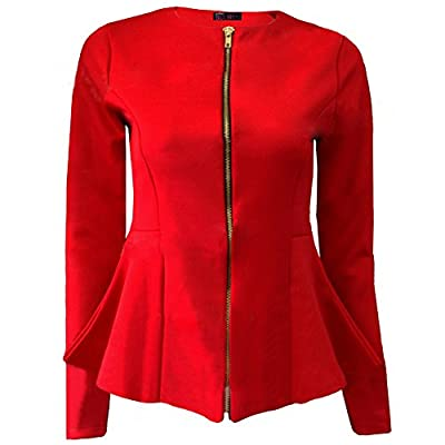 Janecrafts Women's Zip Up OL Flare Work to Wear Blazer Top Suit Coat Jacket