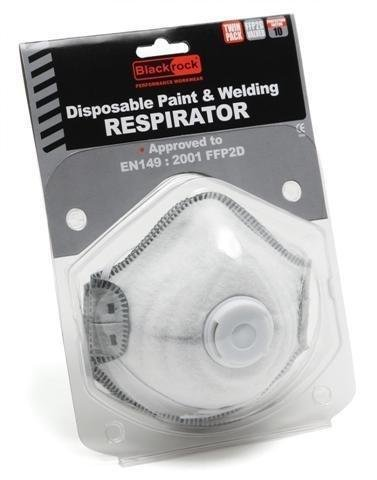 Blackrock Moulded Disposable Cup Dust Mask Respirator Valved FFP2 With Carbon Filter - Pack of 2