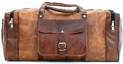 Gusti Leather Genuine Holdall Duffle Gym Weekender Luggage Travel Shoulder Vintage Bag Unisex Brown R27b from Gusti Leder