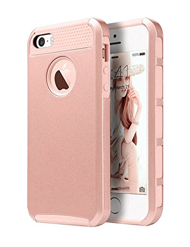 iPhone 5 Case,iPhone 5S Case,iPhone SE Case, Dual Layer Ultra Slim Bumper Cover Rugged Hybrid Shock-Absorption and Anti-Scratch Protective for iPhone 5 5S SE Deeotech - Rose Gold (Slim Iphone 5 Bumper compare prices)