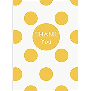Polka Dot Thank You Note Cards, Yellow, 8 Count from Unique Party Favors