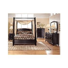 Averille Dark Brown Canopy Bed Set Averille Dark Brown Bedroom