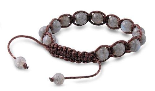 Tibetan Knotted Bracelet - Labradorite W/ Brown String - Bead Size: 8mm, Adjustable Length