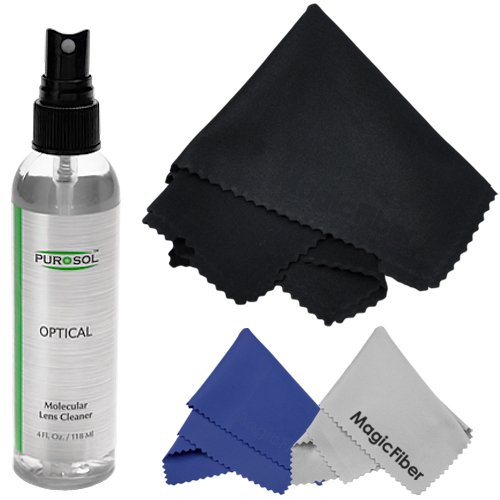 4 Oz. Purosol All Natural Optical Lens And Lcd Cleaner (Mist Spray Bottle) + 1 Extra Large And 2 Original Magicfiber Microfiber Cleaning Cloths front-224503