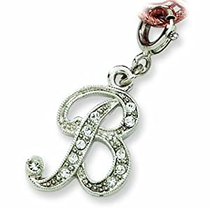 Silver-tone Crystal Initial B Spring Ring Charm