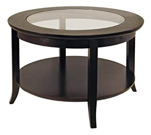 Winsome Wood 92219 Genoa Coffee Table, Glass inset and shelf