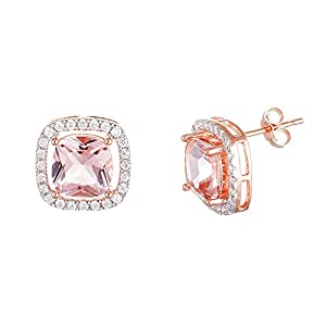 Sterling Silver Two Tone Rose White Gold Cubic Zirconia Morganite Rose Glass Earring