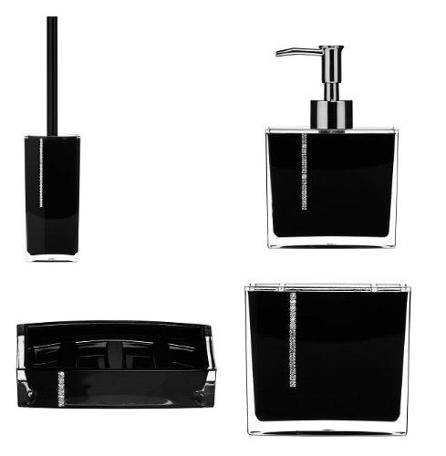 Complete Bathroom Set Black Acrylic with Crystals