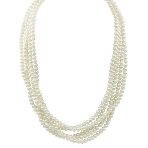 White Freshwater Cultured Pearl Endless Necklace (5-5.5mm ), 100″