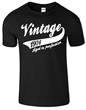 "SnS Online Mens Boys Womens Ladies Girls Unisex T-shirt Tee Top Cotton Vintage 1974 40th Birthday Present Gift T Shirt - Black - S - Chest : 34"" - 36"""