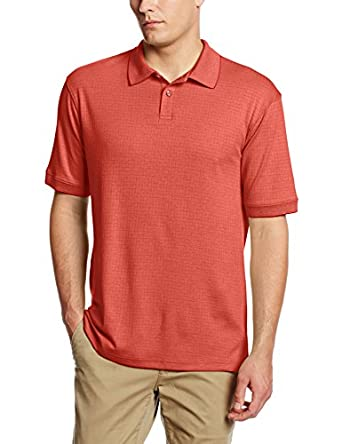 Haggar Men's Short Sleeve Mini Box Check Polo, Fire Cracker, Small