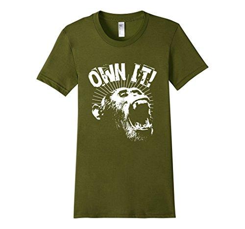 Womens-EmmaSaying-Own-It-Roaring-Gorilla-Ape-Monkey-Cool-T-Shirt-Olive