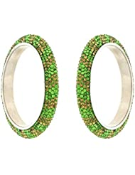 Anuradha Art Exclusively Green Colour Golden Finish Classy Ethnic Bangles Set For Women/Girls