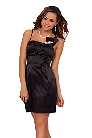 Womens Fitted Formal Satin Sweetheart Sleeveless Mini Empire Waist Party Dress