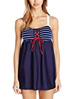 Nautica Vestido Playero Classis Stripe Swim Dress (Azul)