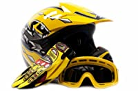 Youth Offroad Gear Combo Helmet Gloves Goggles DOT Motocross ATV Dirt Bike MX Motorcycle Yellow, Large by Typhoon Helmets
