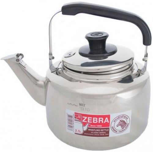 Extra Large Size 7.5 Liter Zebra Polished Mirror Finish Stainless Steel Whistling Canister Stovetop Teakettle Tea Kettle Teapot, Gas Electric Induction Compatible (Zebra Teapot compare prices)