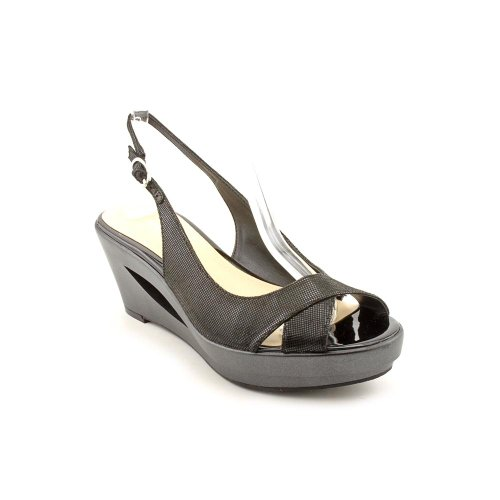 Calvin Klein Rosaria Womens Size 8 Black Open Toe Leather Wedge Sandals Shoes