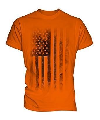 Stars and Stripes USA Faded Flag Print Mens T-Shirt Top, Size X-Small, Colour Barley Sugar
