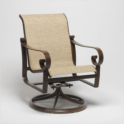 Belden Sling Swivel Rocker Finish: Pecan, Sling: Cape Code Stripe