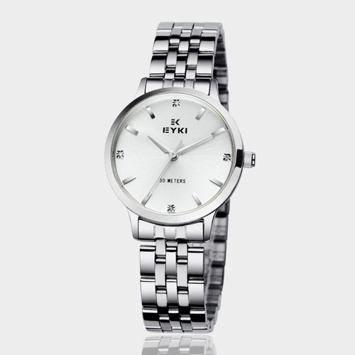 Ufingo-Korean Fashion Thin Band Waterproof Rhinestone Casual Quartz Watch For Women/Ladies/Girls-Silver White