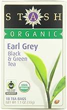 Stash Tea Organic Earl Grey Black and Green Tea 18 Count Tea Bags in Foil Pack of 6