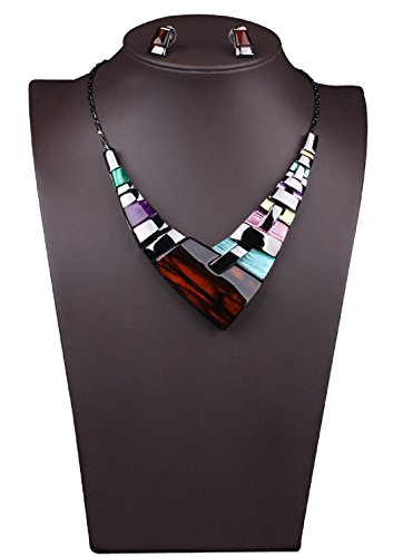 Btime Women Multiple Splice Alloy Resin Necklace