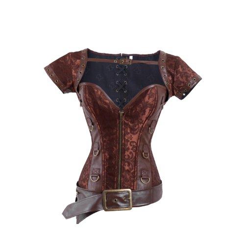 I-Glam broccato acciaio disossati Steampunk corsetto cerniera Overbust Coffee S