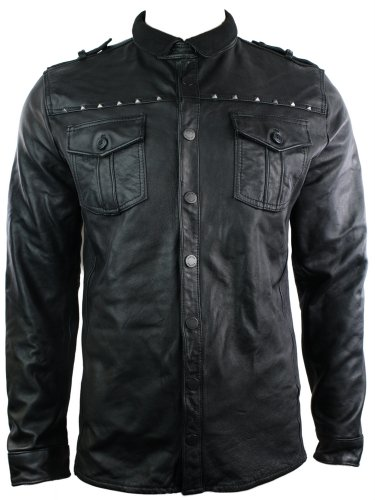 Mens Tailored Fit Vintage Leather Shirt Retro Stud Style Jacket Black Casual