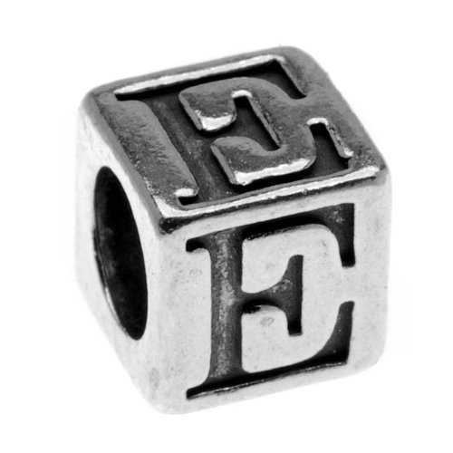 "Sterling Silver Alphabet Cube Bead Letter ""E"" 5.5mm (1)"