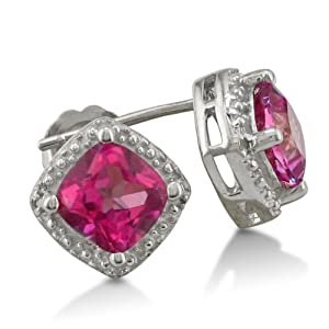 1.20 Ct Oval 6x4mm Pink Created Sapphire 925 Sterling Silver Stud Earrings