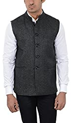 Pickle Men's Wool Waistcoat (NEH-206 DARK GREY--L, Grey, Large)