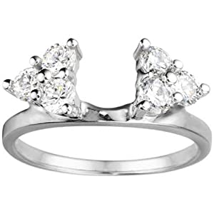 Sterling Silver Engagement Ring Wrap (0.99 crt. Cubic Zirconia).