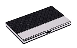 Flourand(TM) PU Leather And Stainless Steel Business Card Case Holder With Mini Gift (Black(Grid))