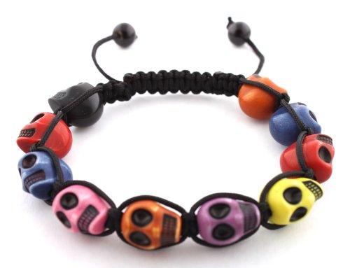 Multicolored Skull Beaded Adjustable Bracelet Macrame Shamballah