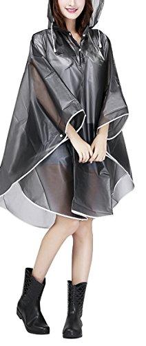 Women Packable EVA Hiking Cycling Hooded Raincoat Travel Rain Cape Jacket Poncho (Travel Rain Pants compare prices)