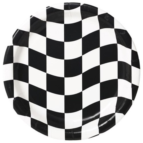 Creative Converting 8 Count Round Dinner Plates, Black and White Check - 1